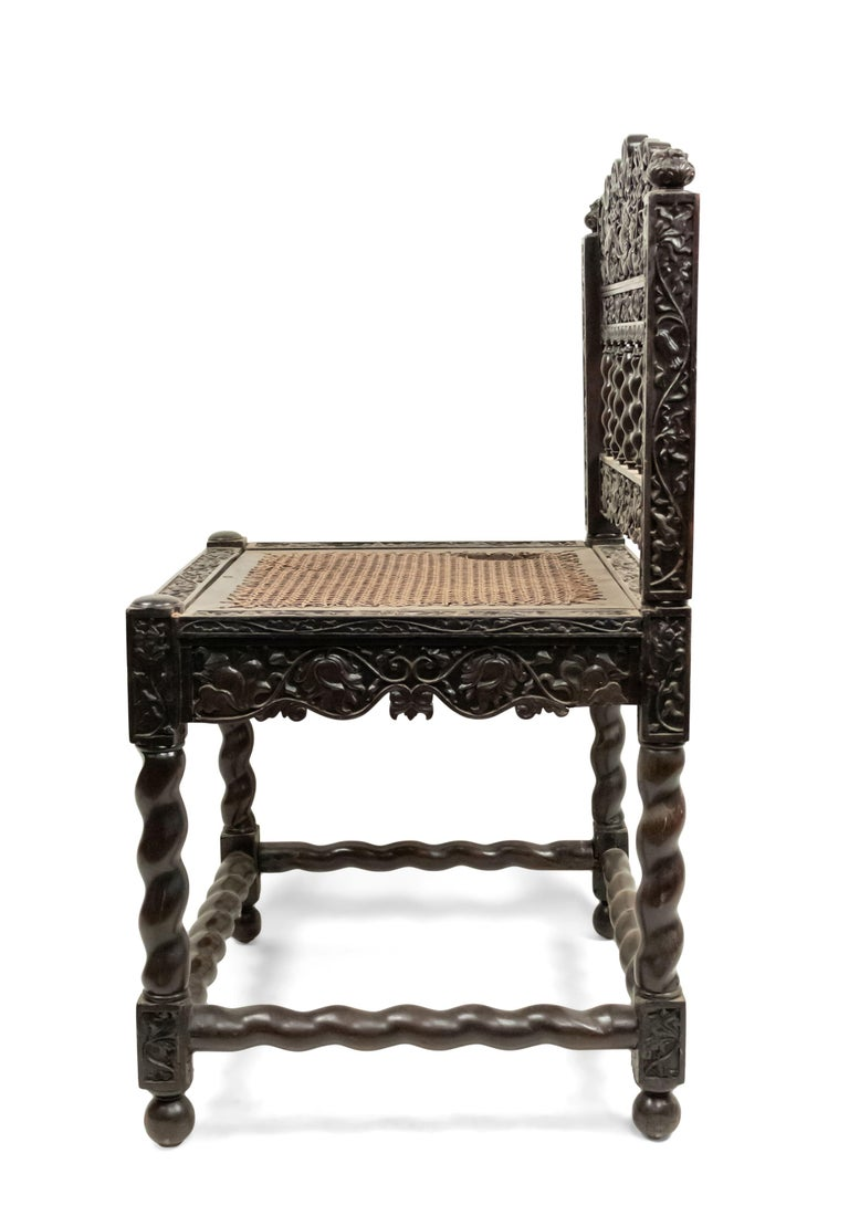Anglo-Indian Set of Four English Anglo Indian Rosewood Carved Side Chairs For Sale