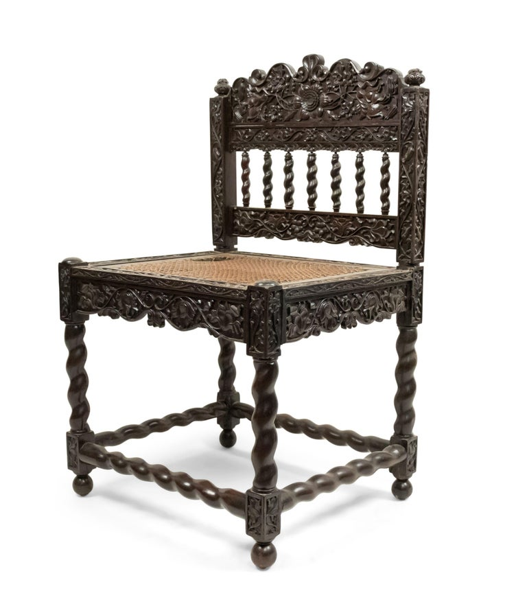 Set of Four English Anglo Indian Rosewood Carved Side Chairs In Good Condition For Sale In New York, NY