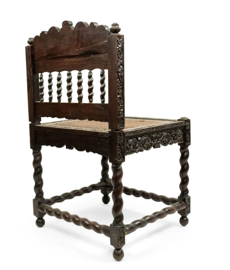 19th Century Set of Four English Anglo Indian Rosewood Carved Side Chairs For Sale