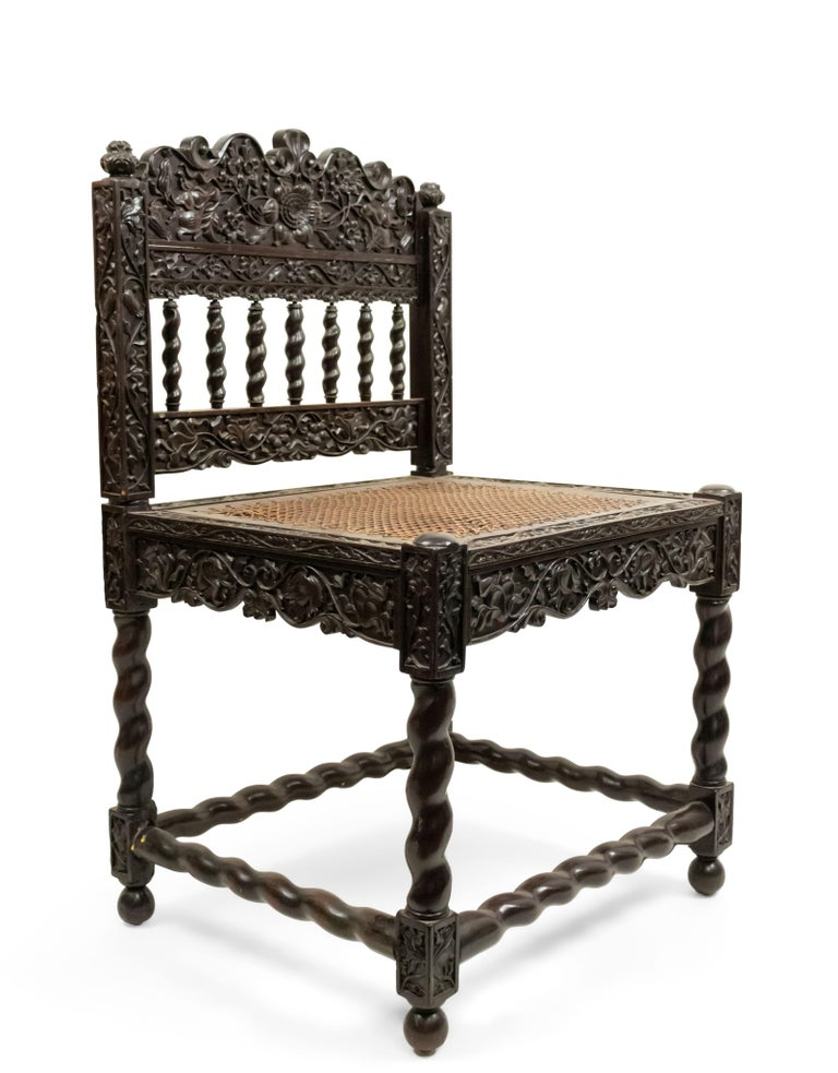 Set of Four English Anglo Indian Rosewood Carved Side Chairs For Sale 1