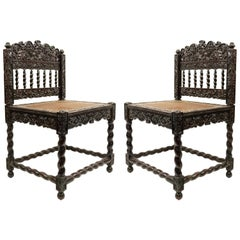 Set of Four English Anglo Indian Rosewood Carved Side Chairs
