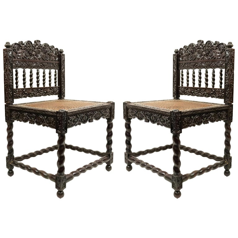 Set of Four English Anglo Indian Rosewood Carved Side Chairs For Sale