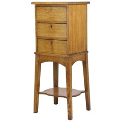 CEnglish Antique Arts & Crafts Oak Chest of Drawers Bedside abinet Lamp Table