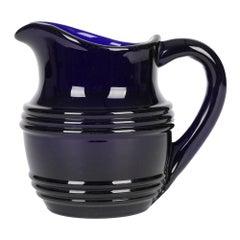 English Antique Bristol Cobalt Blue Glass Water Jug or Pitcher