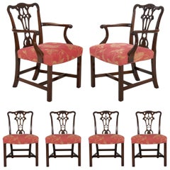 English Antique Carved Mahogany Dining Chairs, Set of 6
