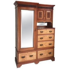 English Antique Combination Wardrobe in Mahogany and Blond Walnut