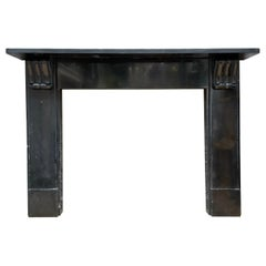 English Antique Fireplace Mantel in Belgian Black Marble