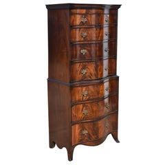 English Antique Flame Mahogany Serpentine Chest of Drawers