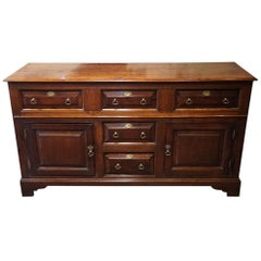 English Antique George III country estate oak dresser circa 1800