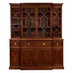English Antique George III Style Mahogany Bookcase Breakfront Cabinet, 19th C