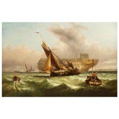 English Antique Marine Seascape of Fishing in Rough Waters, John Cheltenham Wake
