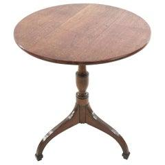 English Antique Oak Side Occasional Tilt-Top Table