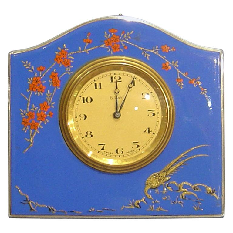 English Antique Silver and Hand Painted Enamel Strut Clock