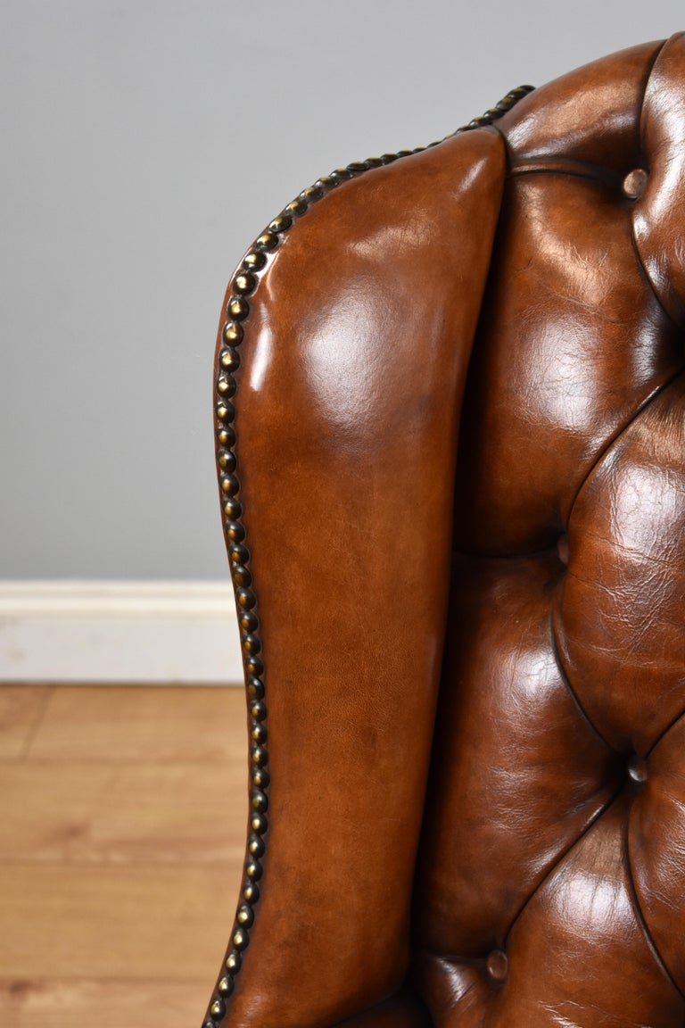 English Antique Victorian Hand Dyed Leather Wingback Armchair 5