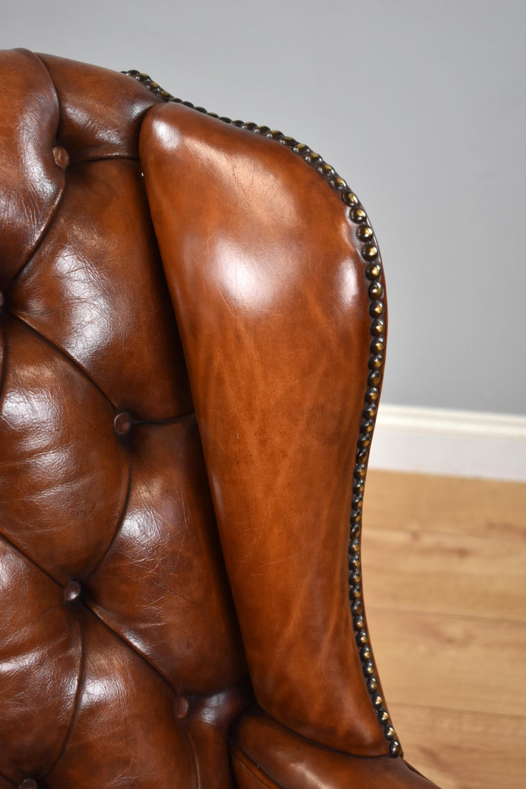English Antique Victorian Hand Dyed Leather Wingback Armchair 6