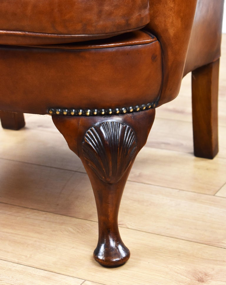 English Antique Victorian Hand Dyed Leather Wingback Armchair 7