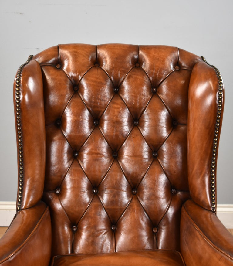 George III English Antique Victorian Hand Dyed Leather Wingback Armchair