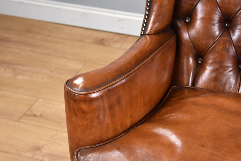 English Antique Victorian Hand Dyed Leather Wingback Armchair In Good Condition In Chelmsford, Essex