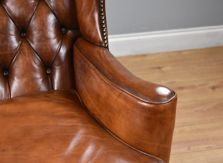 20th Century English Antique Victorian Hand Dyed Leather Wingback Armchair