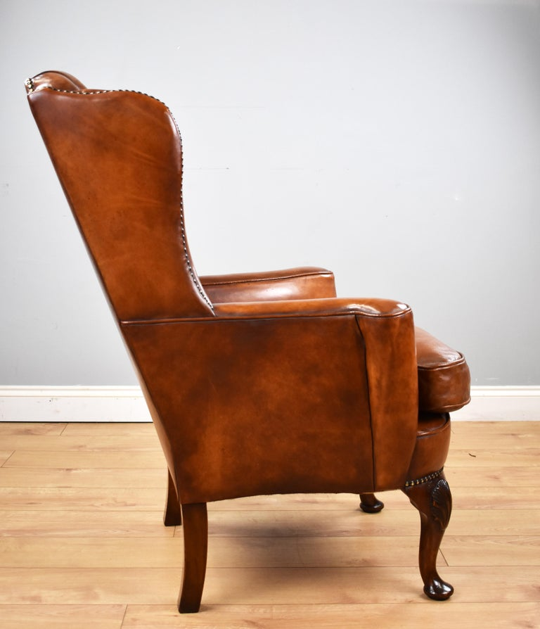 English Antique Victorian Hand Dyed Leather Wingback Armchair 1