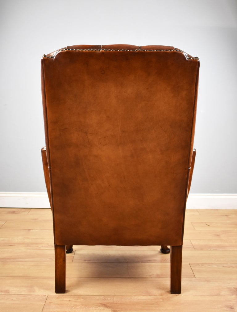 English Antique Victorian Hand Dyed Leather Wingback Armchair 2