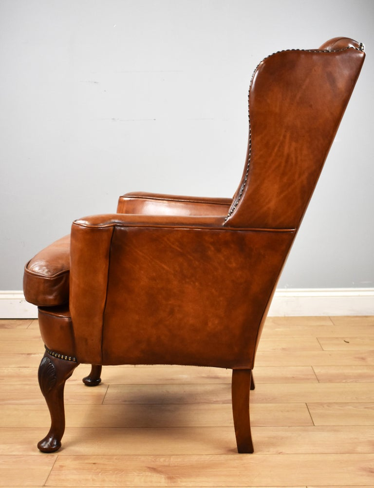 English Antique Victorian Hand Dyed Leather Wingback Armchair 3
