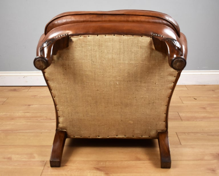 English Antique Victorian Hand Dyed Leather Wingback Armchair 4