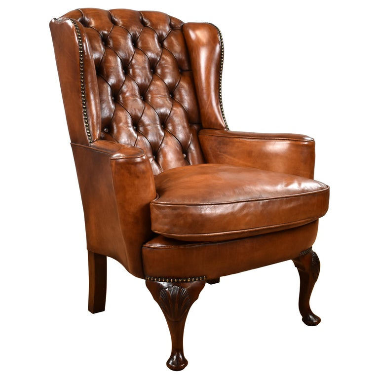 English Antique Victorian Hand Dyed Leather Wingback Armchair