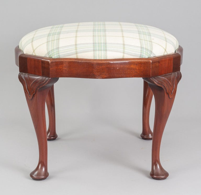 Wool English Antique Victorian Mahogany Stool For Sale