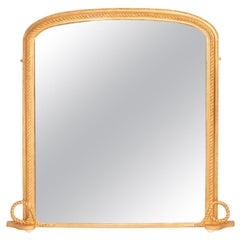 English Antique Water Gilded Overmantle Mirror