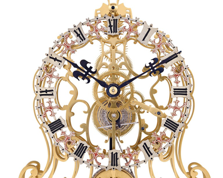 Brass English Arabesque Skeleton Clock by Evans of Handsworth For Sale