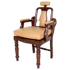 English Armchair Barbers Chairs Carved Mahogany Adjustable Tan