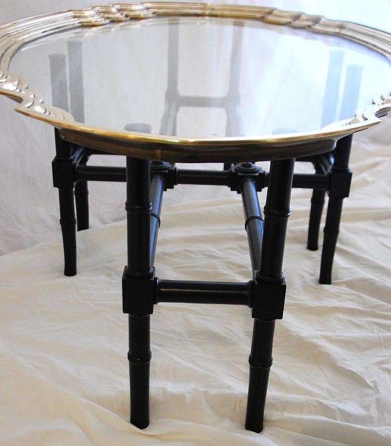 English Art Deco Brass and Glass Coffee Table 1