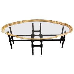 English Art Deco Brass and Glass Coffee Table