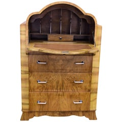 English Art Deco Burl Walnut Cloud Bureau, circa 1930
