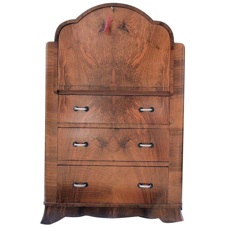English Art Deco Burl Walnut Cloud Bureau