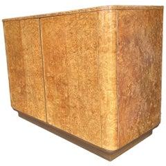 English Art Deco Burl Wood Bedroom Cabinet