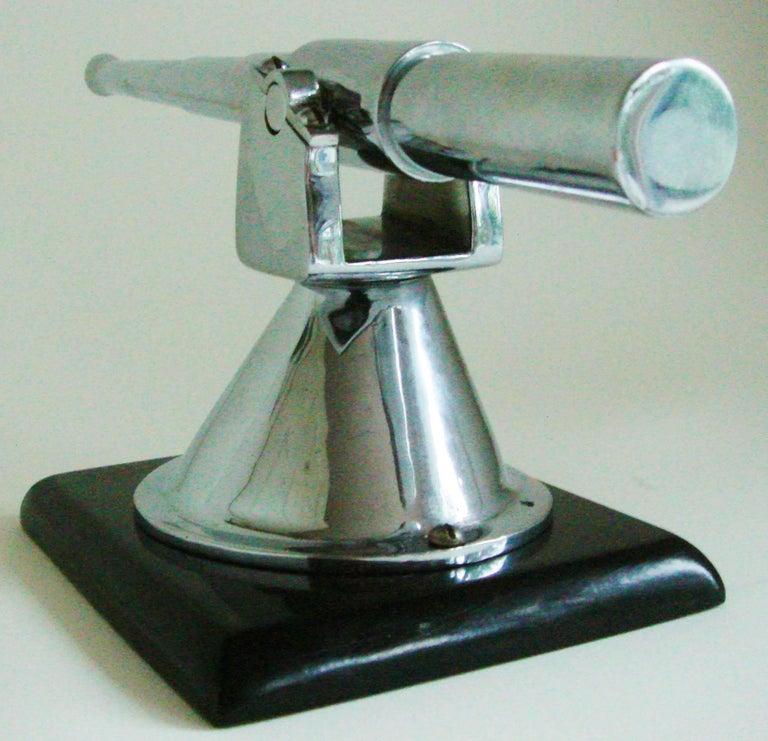 English Art Deco Chrome and Black Vitrolite Bofors Gun Desk Model/Paperweight For Sale 1