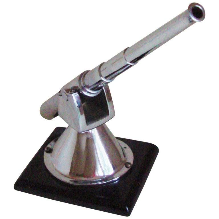 English Art Deco Chrome and Black Vitrolite Bofors Gun Desk Model/Paperweight For Sale