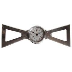 English Art Deco Chrome Bowtie Industrial Electric Wall Clock