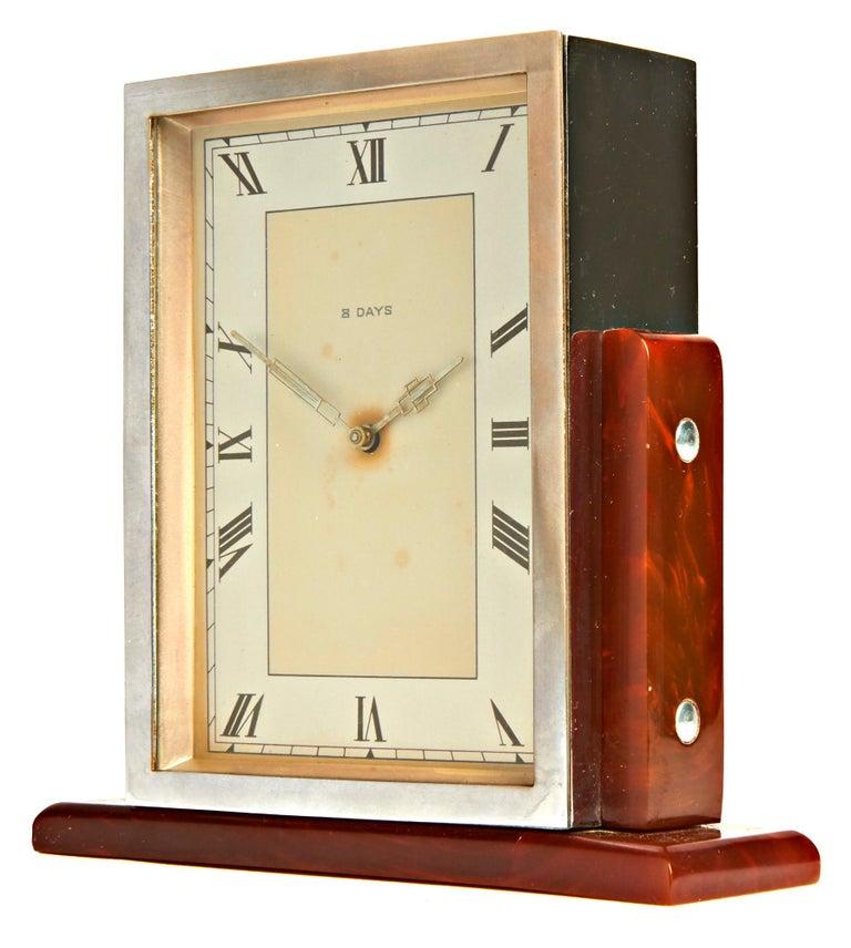 Molded English Art Deco Chrome & Butterscotch/Tortoiseshell Bakelite 8-Day Table Clock For Sale