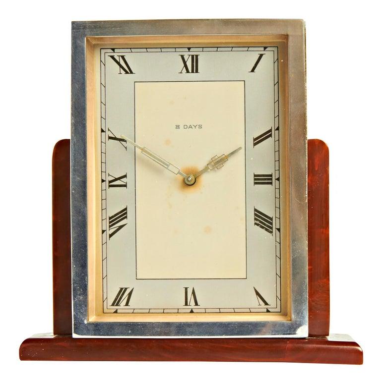 English Art Deco Chrome & Butterscotch/Tortoiseshell Bakelite 8-Day Table Clock For Sale 1