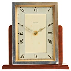 English Art Deco Chrome & Butterscotch/Tortoiseshell Bakelite 8-Day Table Clock