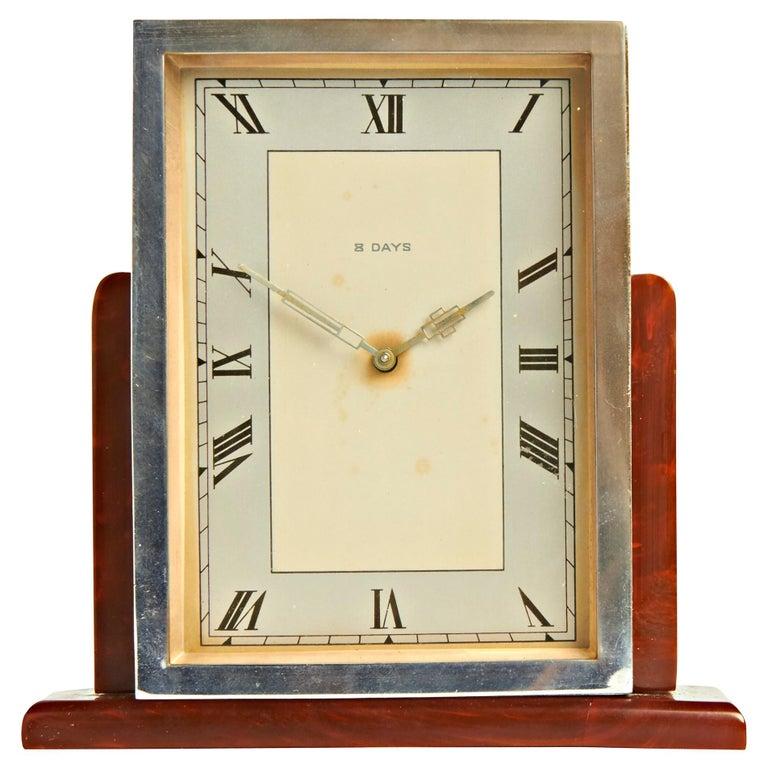 English Art Deco Chrome & Butterscotch/Tortoiseshell Bakelite 8-Day Table Clock For Sale