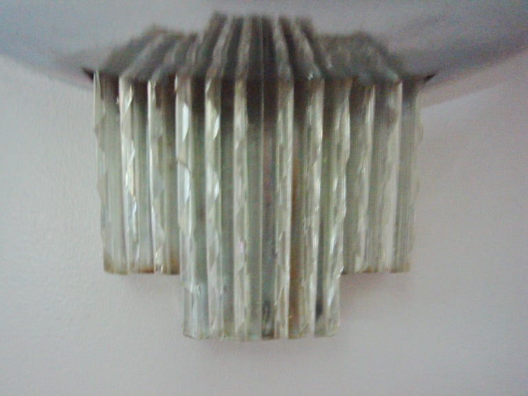Molded English Art Deco Chrome & Glass Two-Tier Wall Sconce by Berry's Electric Ltd. For Sale