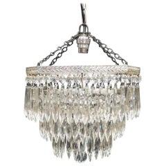 English Art Deco Chrome Octagonal Three-Tier Crystal Glass Chandelier