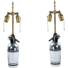 English Art Deco Chrome Syphon Bottle Mounted as Lamps