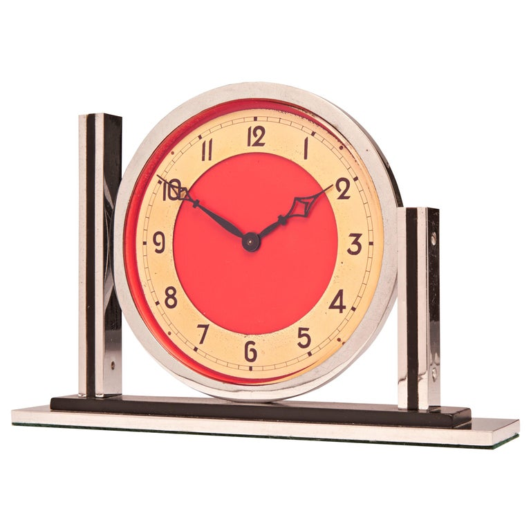 English Art Deco Chrome with Black, Red and Gold Tone Mechanical Mantel Clock For Sale