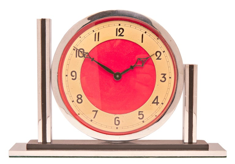Cold-Painted English Art Deco Chrome with Black, Red and Gold Tone Mechanical Mantel Clock For Sale