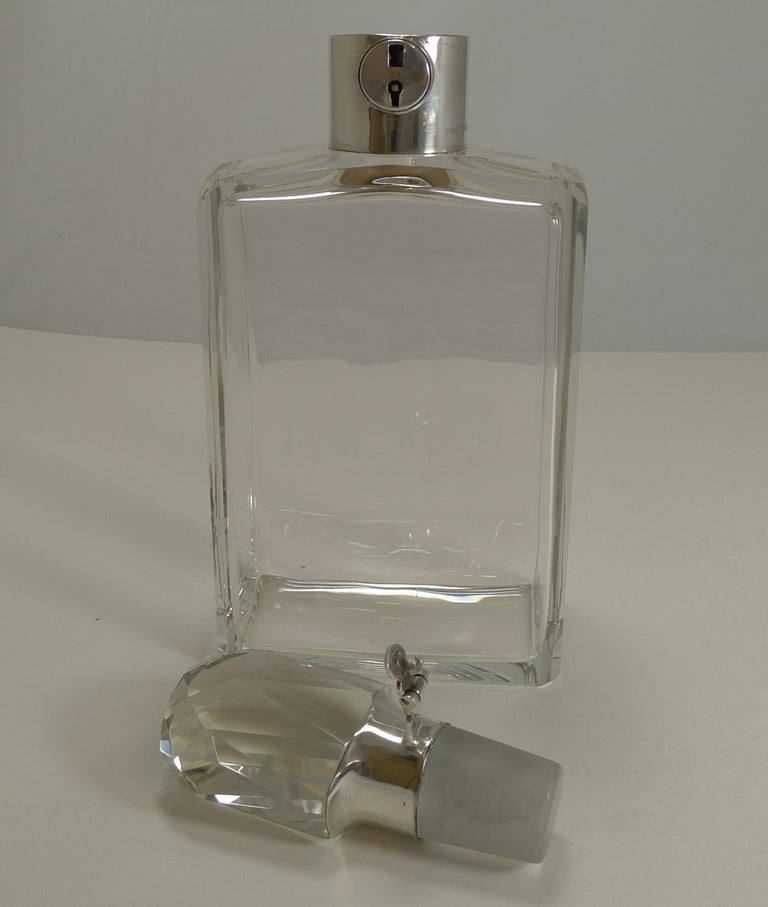 Mid-20th Century English Art Deco Crystal and Sterling Silver Locking Decanter by Hukin and Heath For Sale